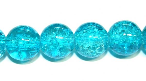 142pcs x 6mm Turquoise glass crackled beads -- 3005067.